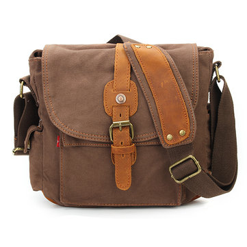 Augur Men's Vintage Genuine Leather Canvas Leisure Shoulder Bag Crossbody Bag