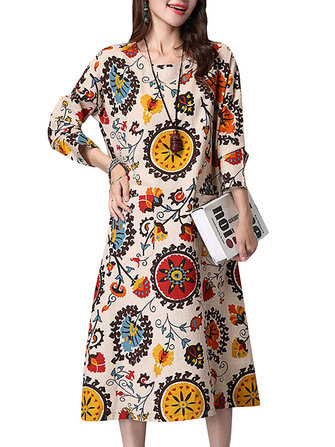 Casual Women Printing O-Neck Long Sleeve Pocket Straight Dress