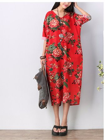 Vintage Flower Print Three Quarter Sleeve Dress