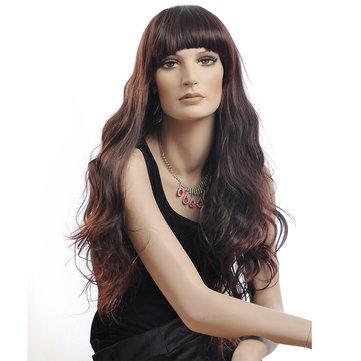 NAVIS Long Curly Wavy Dark Brown Wig Matt High-Temperature Synthetic Fiber Hair