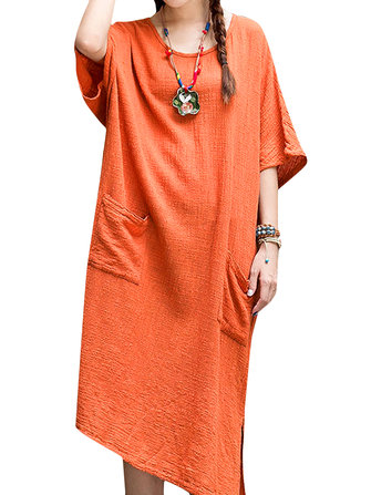 Casual Loose Pure Color Double Pocket Round Neck Maxi Dress