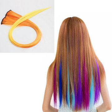 NAWOMI 1Pcs 2 Clip In Yellow Ombre Heat Friendly Resistant Synthetic Hair Extension Hair Piece