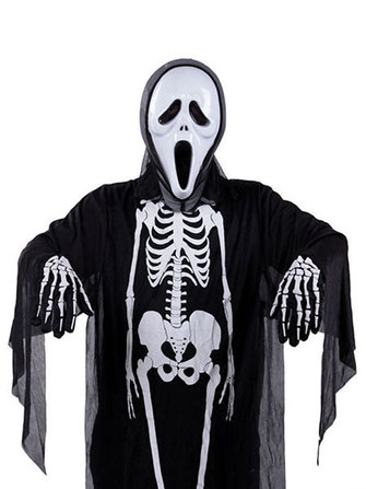 Mens Skeleton Ghost Costumes Black Halloween Cosplay Masquerade Clothing