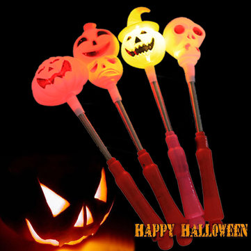 2Pcs Kids Halloween Handle LED Light Swingable Pumpkin Light Sticks Candy Skull Hand Lamp