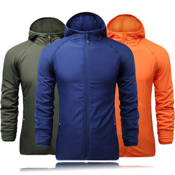Mens Casual Outdooors Sport Hiking Hooded Jacket Double Sided Wear Coat Windbreaker 5 Colors