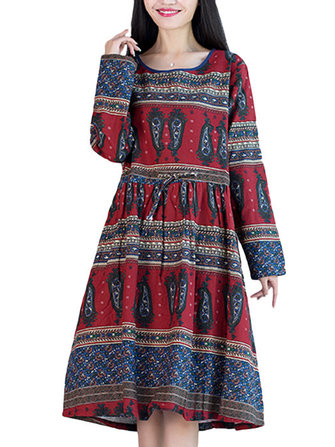 Vintage Women Ethnic Print Waist Long Sleeve Loose Dress