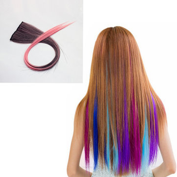 NAWOMI 1Pcs 2 Clip In Black Pink Ombre Heat Friendly Resistant Synthetic Hair Extension Hair Piece