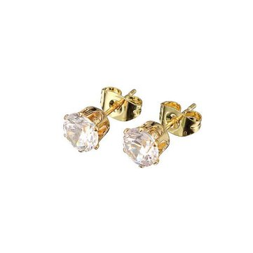 Kuniu Silver Gold Plated White Zircon Crystal Ear Stud Earrings