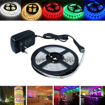 5M SMD 5630 Non-Waterproof 300 LED Strip Flexible Light Rope Tape Lamp + Connector + Adapter DC12V