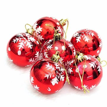 6pcs Christmas Xmas Tree Hanging Bauble Ball Snowflake Pattern Christmas Decoration