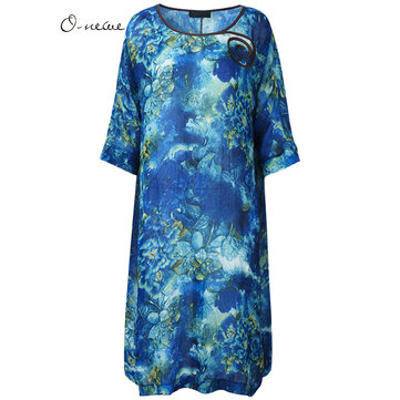 O-NEWE Elegant Women Ethnic Style Flower Printing Midi Dress