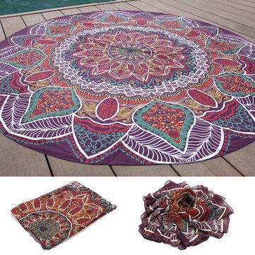 145 cm Baskı Ince Şifon Plaj Havlu Mat Mandala Yuvarlak Çarşaf Goblen Masa Örtüsü Dekor
