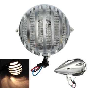 H4 35W Motorcycle Bullet Halogen Custom Headlight Chrome For Harley