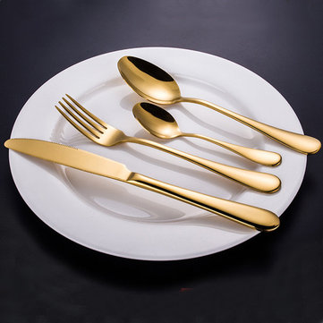 KCASA Stainless Steel Golden Western Food Dinnerware Cutlery Fork Knife & Spoons Tableware Set
