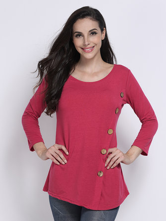 Button Asymmetrical Long Sleeve Pure Color Round Neck Women T-Shirt