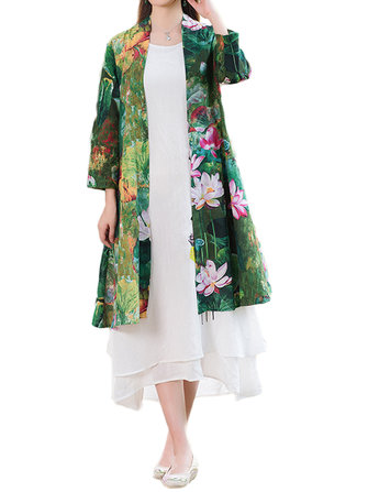 Women Loose Flower Printing Cotton Linen Outerwear