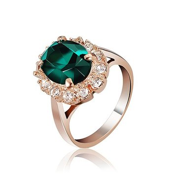 Elegant Italina Rose Gold Crystal Finger Ring Emerald Wine Red Women Jewelry