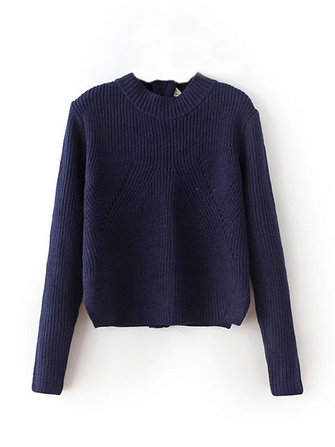 Casual Women Pure Color Zipper Knit Pullover Sweater
