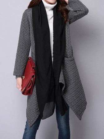 Women Elegant Long Sleeve Patchwork Irregular Cardigans