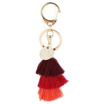Gold Tassel Color Gradient Handmade Smile Face Key Chain For Bags