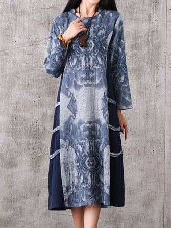 Women Vintage Printing Long Sleeve Cheongsam Loose Dress