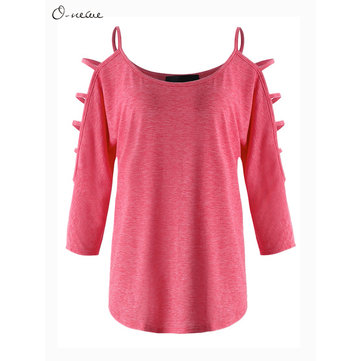 S-5XL Sexy Women Solid Color Strap Bat Sleeve Blouse