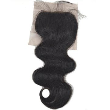 6A Silk Base Closure Brazilian 100% Human Hair Body Wave 4*4 Handmade Middle Free Part