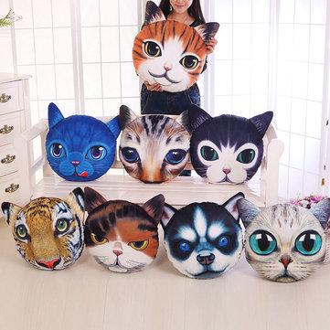 크리 에이 티브 재미 있은 3D 개 고양이 머리 베개 PP면 시뮬레이션 동물 방석 생일 선물 속임수 완구