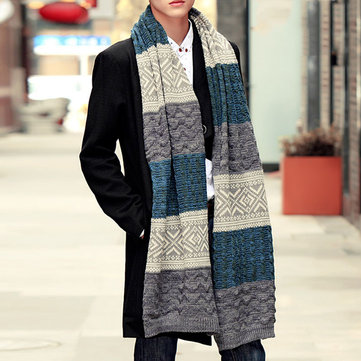 Men Wool Scarf Warm Knit Thick Scarf Long Hit Color Striped Knit Collar Scarf