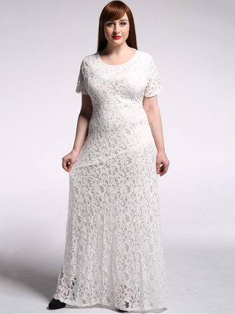 Plus Size Elegant Women Lace Crochet Party Long Maxi Dress