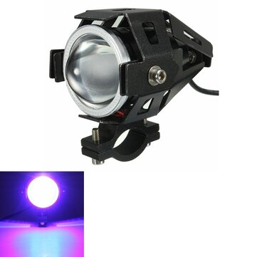 2PCS U7 Waterproof Motorcycle LED Fog Light Spot Headlight Angel Eyes Lamp Black Body Blue Light