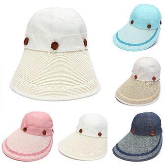 Women Girls Wide Brim Cotton Beach Hat Removable Multifunction Outdoor Gardening Cap