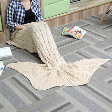 60x160cm 3 Color Yarn Knitting Mermaid Tail Blanket Warm Super Soft Bed Mat Sleep Bag Birthday Gift