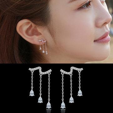 925 Sterling Silver Water Drop Crystal Zircon Tassel Drop Earrings