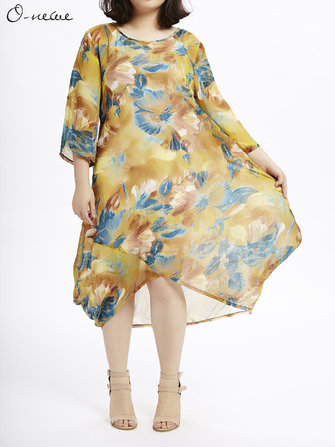 Loose Women Summer Flower Printing High Low Chiffon Dress