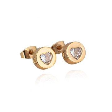 Kuniu 18k Gold Plated Heart Zircon Ear Stud Earrings Women Jewelry
