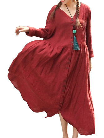 O-NEWE Mori Girl Women Loose Solid Pleated Button Maxi Dress