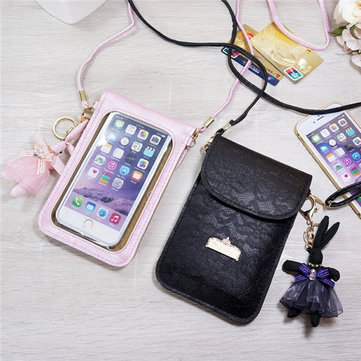 Universal Mini Vertical Screen Touch Window Shoulder Wallet Bag For 6 Inch Smartphone