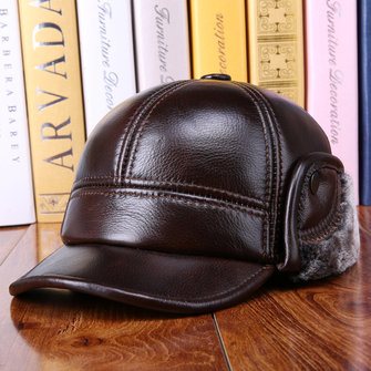Winter Vintage Cowhide Genuine Leather Earmuffs Hat Warm Fleece Liner Cap Mature Mens Cap