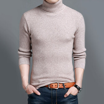 Men's Wool Blended Turtleneck Sweater Solid Thick Slim British Style Pullover Tops