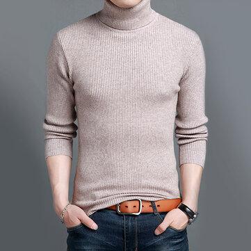 เสื้อกันหนาวผู้ชายทอแบบผสมทึบหนา บาง เสื้อกันหนาวแบบอังกฤษ