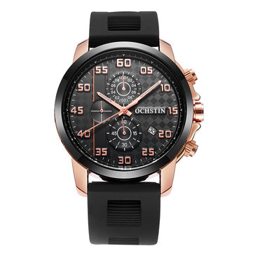 OCHSTIN GQ080 Bussiness Style Male Wristwatch Silicone Band Analog Sport Quartz Watch