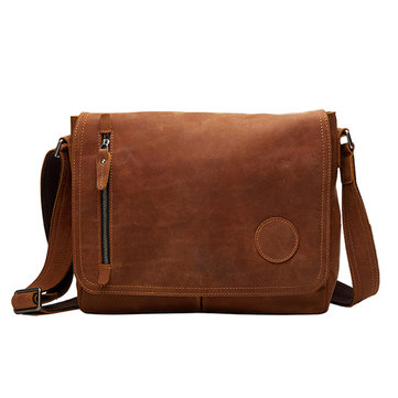 Ekphero Men Vintage Genuine Leather Retro Casual Shoulder Crossbody Bag