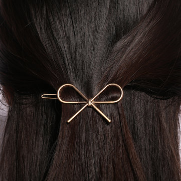 Cute Girl's Metal Silver Gold Color Bowknot Hair Clip
