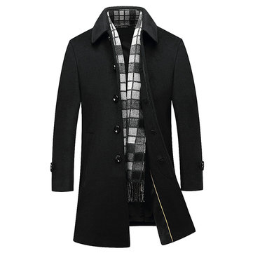 Black Business Stylish Woolen Overcoat Mid Long Trench Coat