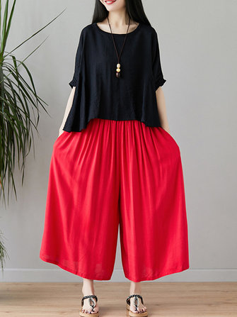 Women Wide Leg Cotton Linen Trousers Pants