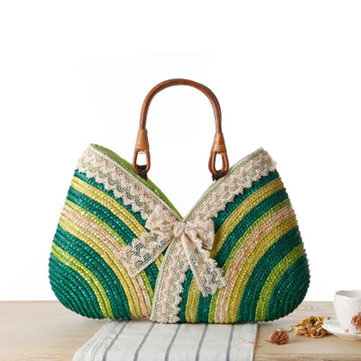 Women Lace Stylish Travel Straw Handbag Beach Bag