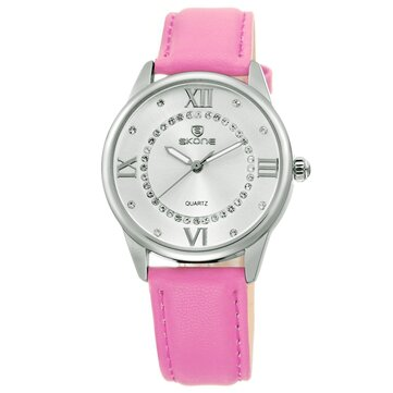 SKONE 9198 Fashion Women Water Resistant Rhinestones PU Strap Watch