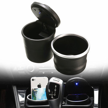 PBT Portable Detachable Car Ashtray Smoke Cup Storage Holder with Blue LED Light for BMW