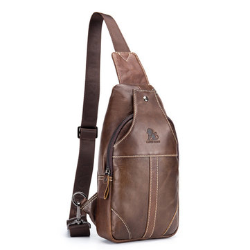 Genuine Leather Vintage Crossbody Bag Leisure Business Travel Chest Bag For Men